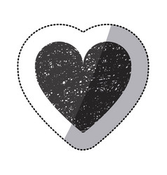 black sticker silhouette of icon heart hand drawn vector image