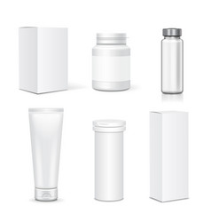 blank set plastic packaging bottles vector image