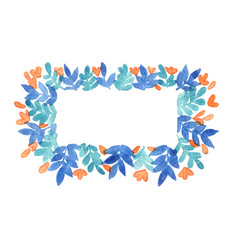 blue leaf and peach pink flower rectangle wreath vector image