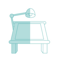 Blue shading silhouette cartoon drawing table with vector