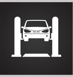 car lift service procedure on black background for vector image
