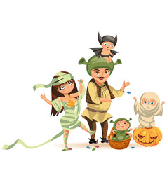 cartoon family celebrating halloween flat poster vector image