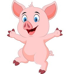 Cartoon funny pig waving hand isolated vector