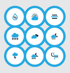 climate icons colored set with snow cloudy sky vector image
