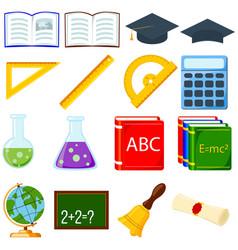 colorful cartoon school set 16 elements vector image