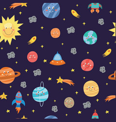 colorful space seamless pattern with planets and vector image