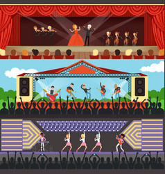 Concerts set with musicians and artists characters vector