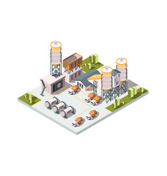 Concrete factory machinery manufactory production vector