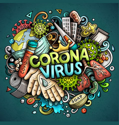 Coronavirus hand drawn cartoon doodles vector