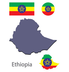 Country ethiopia silhouette and flag vector