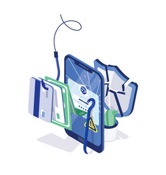 Cracked smartphone credit cards and money on vector