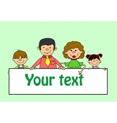 Cute family holding banners vector