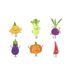 Cute happy vegetable characters set squash vector