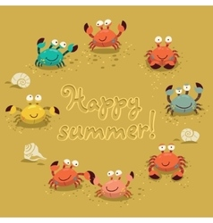 cute of colorful crabs and vector image