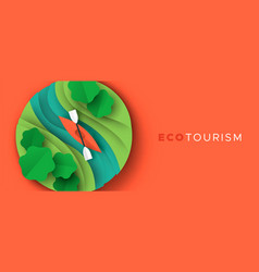 eco tourism paper cut banner kayak boat sport vector image
