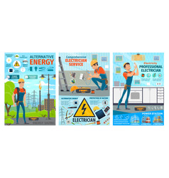 Electrician profession electric work tools vector