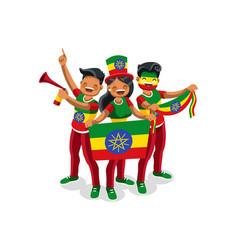 Ethiopians with ethiopia flag symbol vector