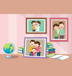 Family and daughter photo in frame vector