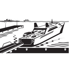 ferry boat docked in port vector image