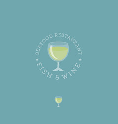 fish and wine logo seafood restaurant vector image