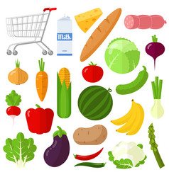 flat design vegetable icon set vector image