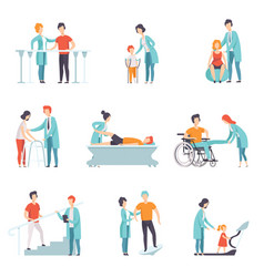 flat set of people on rehabilitation vector image