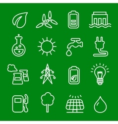 Flat thin line icons set of power and vector