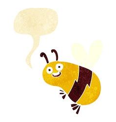 Funny cartoon bee with speech bubble vector