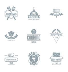 Gastronomy logo set simple style vector
