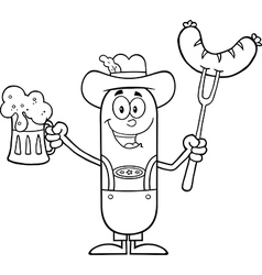 German Oktoberfest Sausage Cartoon vector