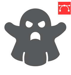 Ghost glyph icon halloween and scary ghost sign vector