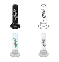 Grass in test tube icon cartoon single medicine vector