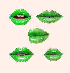Green lips set vector