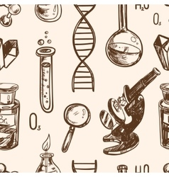 Hand drawn science beautiful vintage lab seamless vector