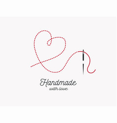 handmade with love background needle and thread vector image