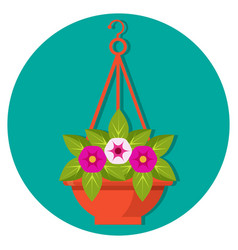 Hanging flower basket with petunias vector