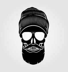 Hipster skull with mustache and bread vector
