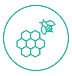 Honeycomb and bee line icon vector image