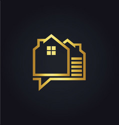 house data technology gold logo vector image