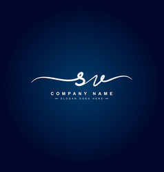 Initial letter sv logo - handwritten signature vector