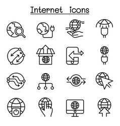 internet connection online network icon set in vector image