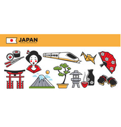 Japan travel destination promotional poster with vector