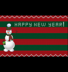 knit new year template with snowman xmas striped vector image