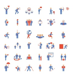 Large set of businessmen icons in different poses vector