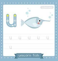 Letter u lowercase tracing practice worksheet vector
