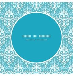light blue swirls damask frame seamless vector image vector image