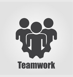 logo teamwork with gear on a gray background vector image