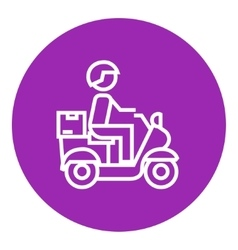 Man carrying goods on bike line icon vector
