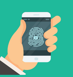 mobile phone unlocked with fingerprint button vector image