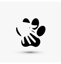 modern paw hold hand black icon on white vector image